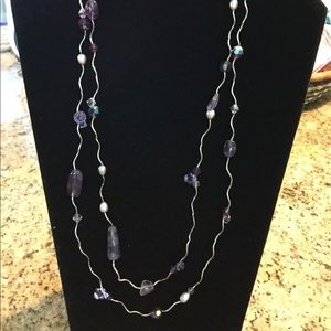 "48"" Silver and Purple Necklace"